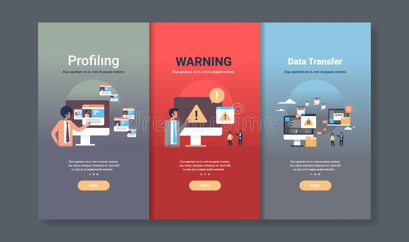 Web design template set for profiling warning and data transfer concepts different business collection flat copy space. Vector illustration stock illustration
