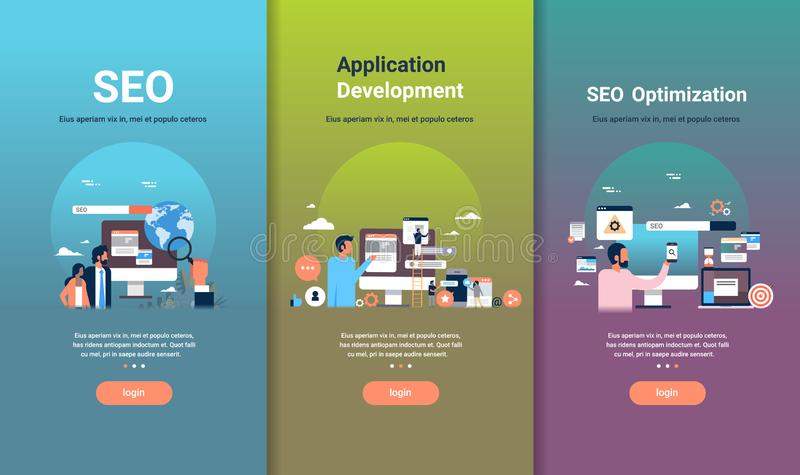 Web design template set for seo optimization and application development concepts different business collection flat. Copy space vector illustration royalty free illustration