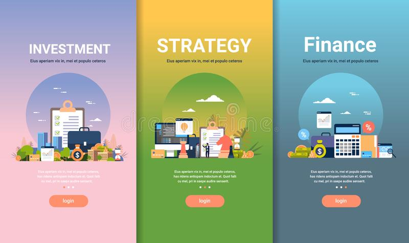 Web design template set for strategy finance investment concepts different business collection flat copy space royalty free illustration