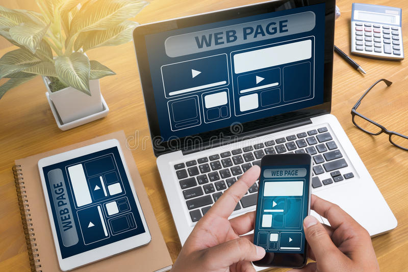 Web Design Template and web page Closeup shot of laptop with di royalty free stock photo