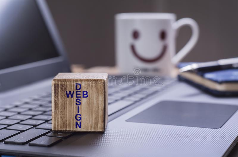 Web design text on laptop royalty free stock photos