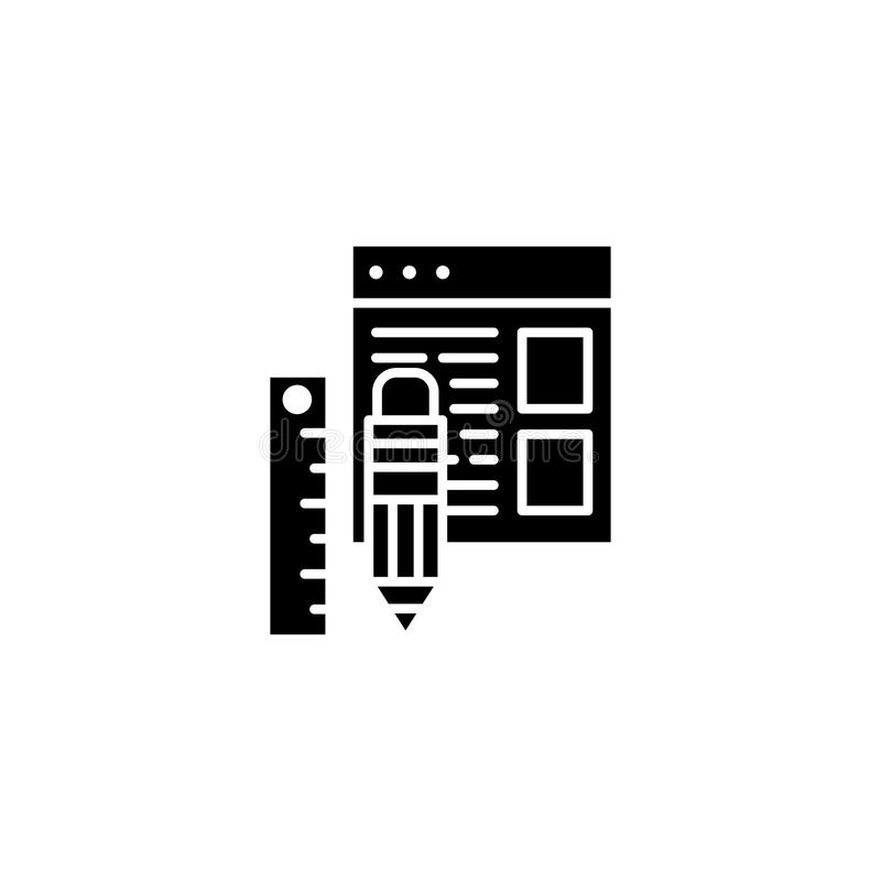 Web design tools black icon concept. Web design tools flat vector symbol, sign, illustration. royalty free illustration