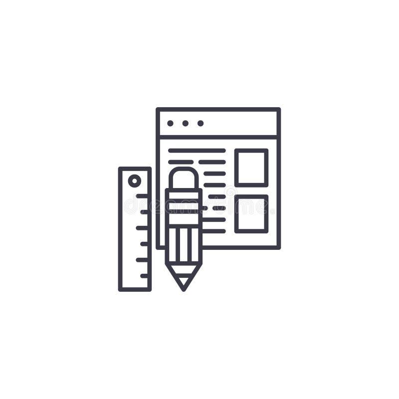 Web design tools linear icon concept. Web design tools line vector sign, symbol, illustration. royalty free illustration
