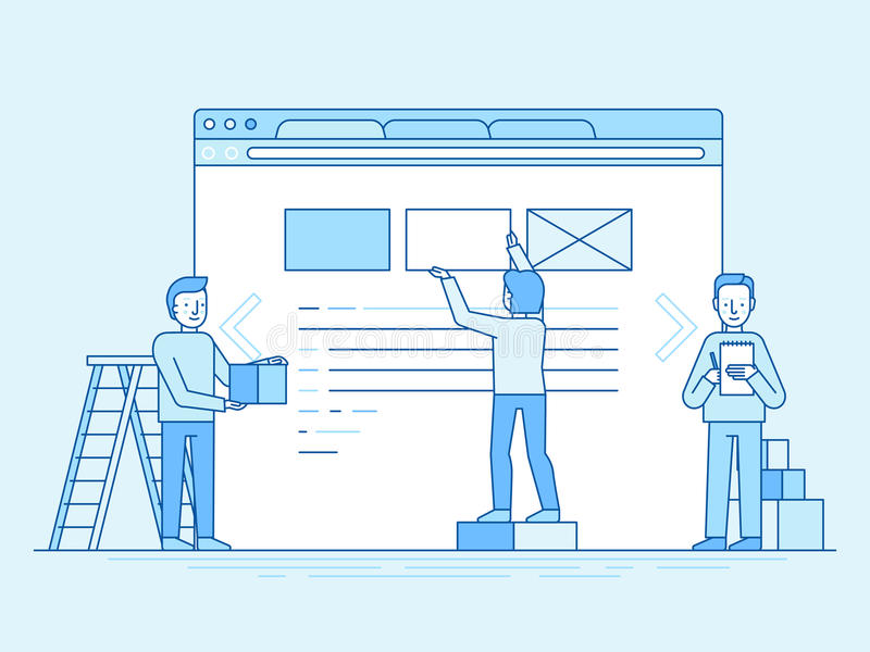 Web design and user interface development concept. Vector illustration in trendy flat and linear style - web design and user interface development concept stock illustration