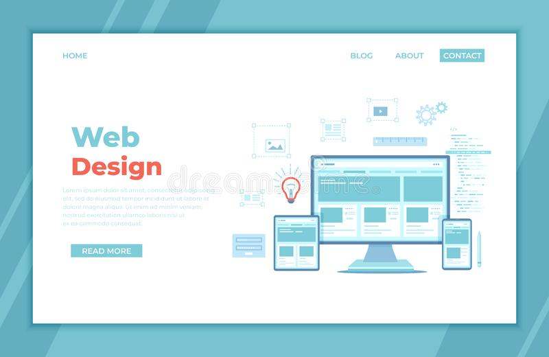 Web Design. Website template for monitor, laptop, tablet, phone. Elements for mobile and web applications. User Interface UI UX vector illustration