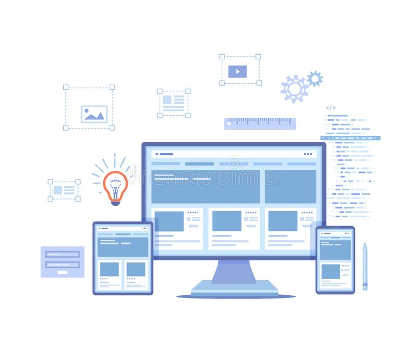 Web Design. Website template for monitor, laptop, tablet, phone. Elements for mobile and web applications. User Interface UI and U vector illustration