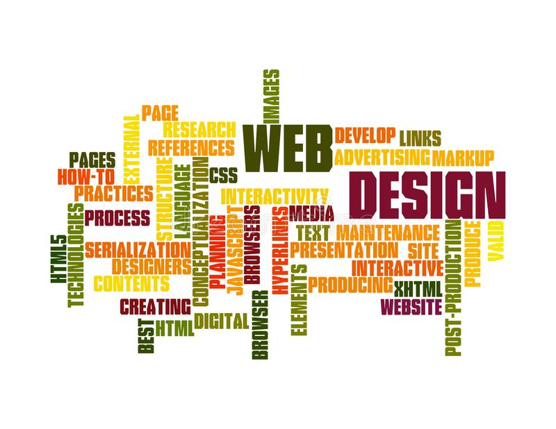 Web Design word cloud. Word Cloud Illustration of Web Design on white royalty free illustration