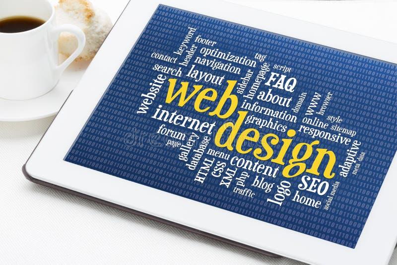 Web design word cloud stock photo