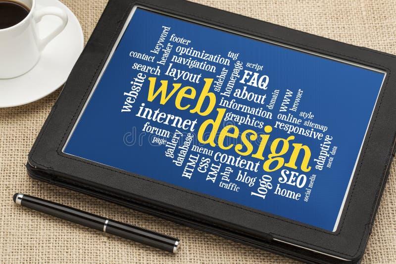 Web design word cloud stock photography