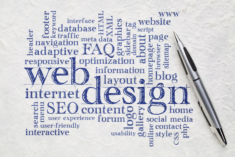 Web design word cloud on paper stock photo