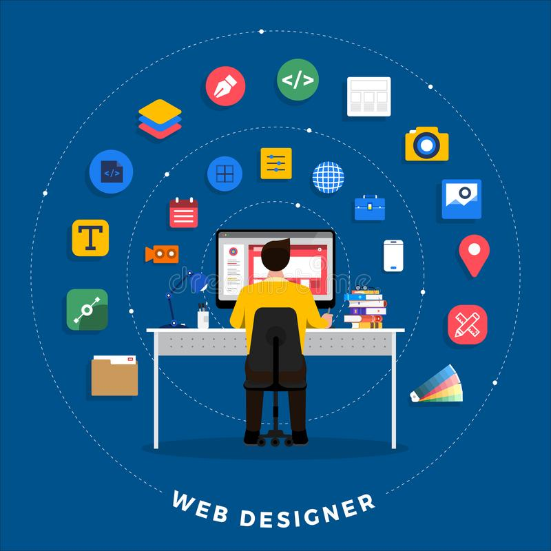 Web Designe and Programmer vector illustration