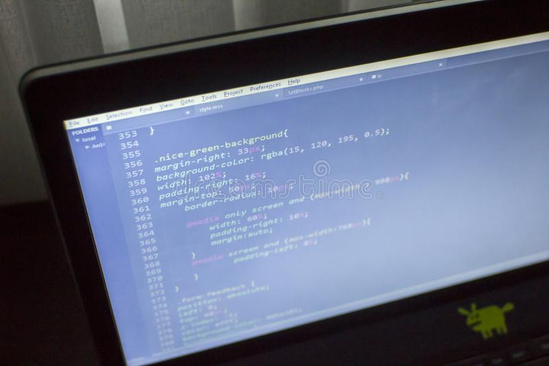Web Designer Css3 Less Sass Code Close Up Stock Image Image Of Coding Cyberspace 104081299