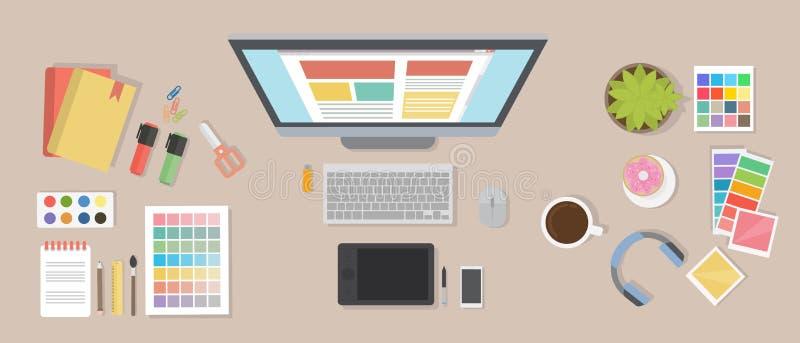 Web designer desk. stock illustration