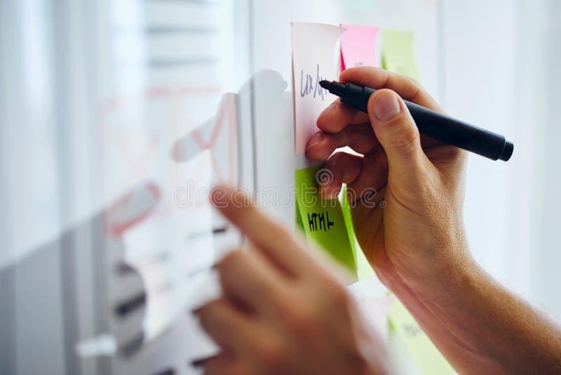 Web designer planning website ux app development. On white board royalty free stock image