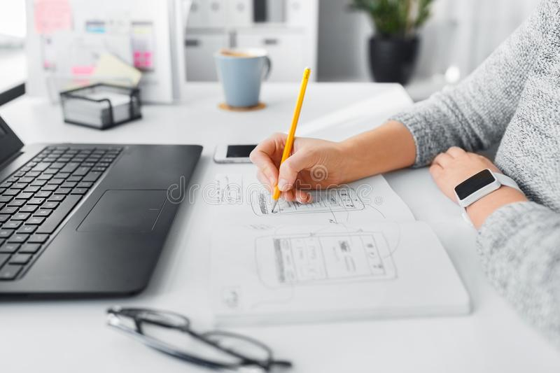 Web designer working on user interface at office royalty free stock photography