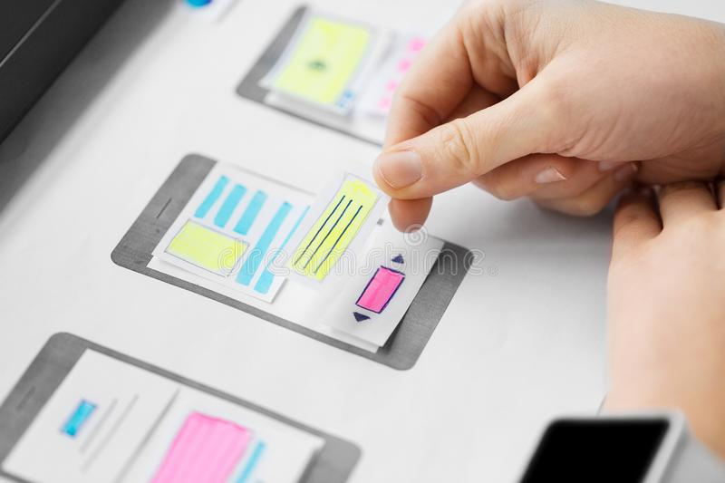 Web designer working on user interface wireframe. App design, technology and business concept - web designer working on user interface and creating wireframe royalty free stock image