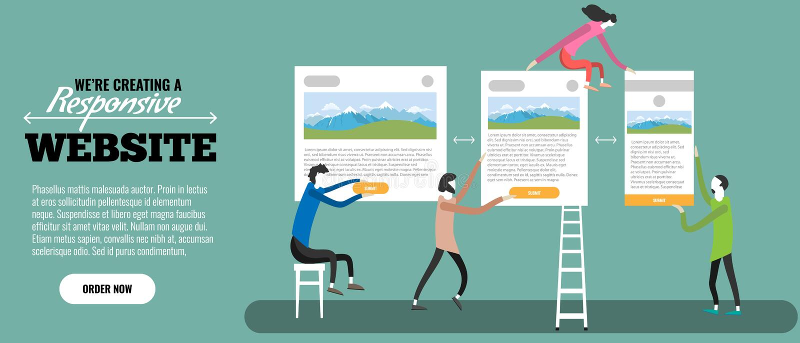 Web designers creatign responsive website. Tiny people making site. Vector illustration. vector illustration