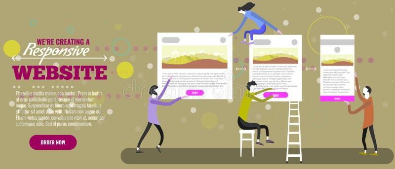 Web designers creatign responsive website. Tiny people making site. Vector illustration. Web designers creatign responsive website. Tiny people making site vector illustration