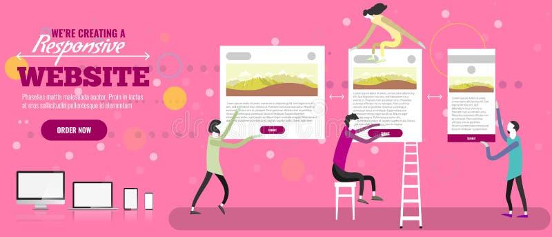 Web designers creatign responsive website. Tiny people making site. Vector illustration. Web designers creatign responsive website. Tiny people making site royalty free illustration