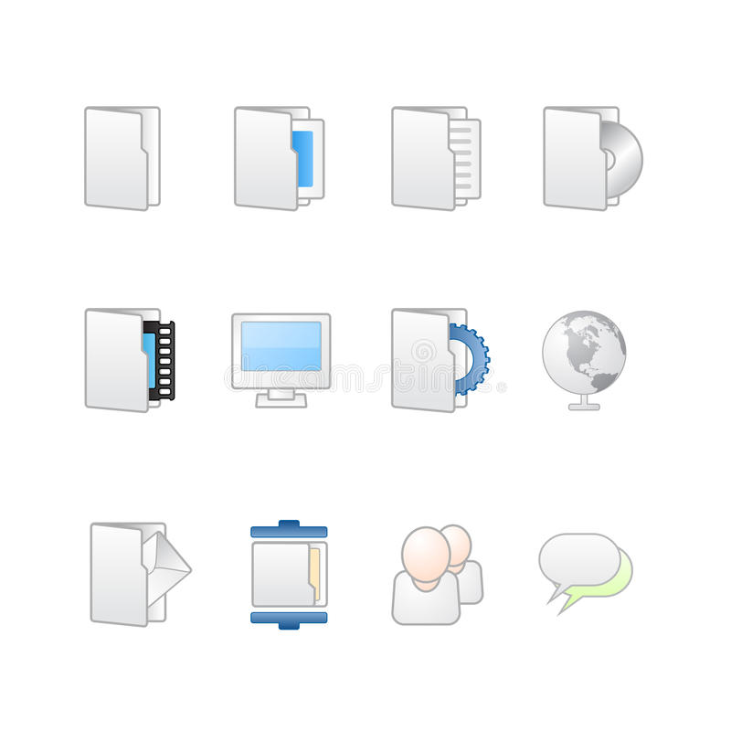 Web and desktop icons mac. Vector illustration of icon set for desktop or web sites, with white and clean colors as mac style with rounded corners and web 2. 0 stock illustration