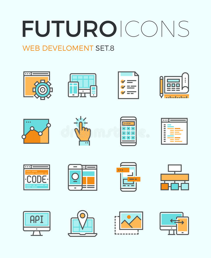 Web develop futuro line icons. Line icons with flat design elements of responsive website development, web programming process, API interface coding, mobile app vector illustration