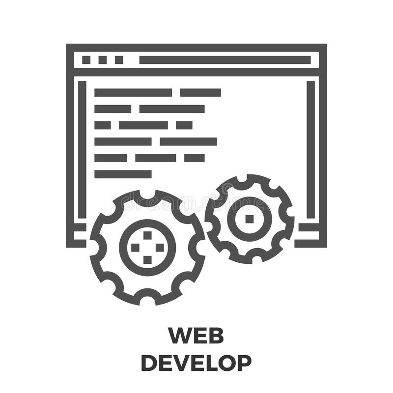 Web Develop Line Icon stock illustration