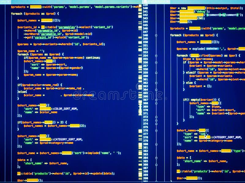 Web developing of the site using php language. Lines of colorful php code on blue background. Web developing on the php language. Colorful php code on blue royalty free stock images