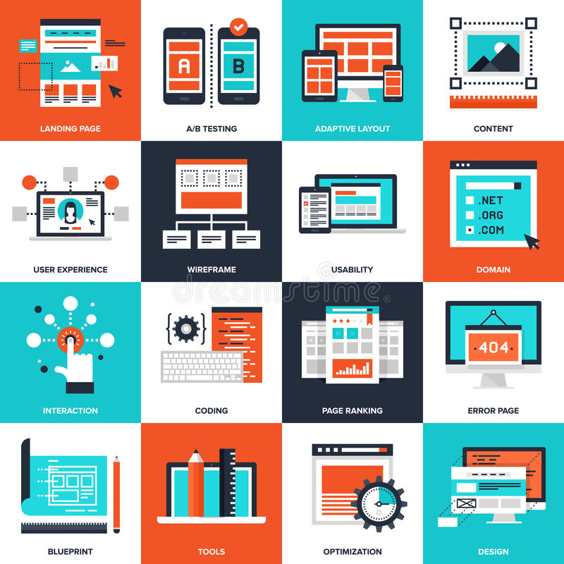 Web Development. Abstract vector collection of flat web development icons. Elements for mobile and web applications vector illustration