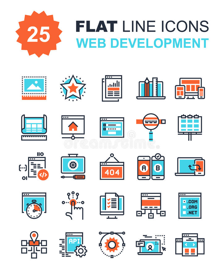 Web Development. Abstract vector collection of flat line web development icons. Elements for mobile and web applications stock illustration
