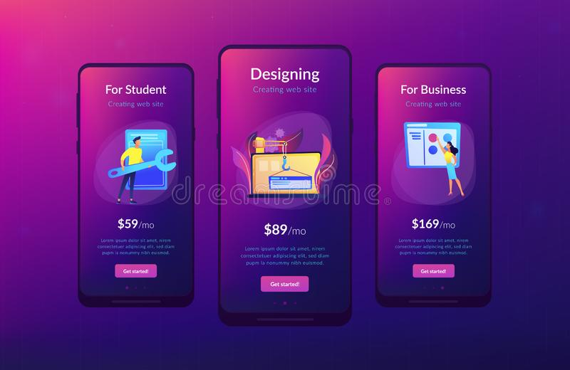 WEB development app interface template. It professionals are creating web site on the laptop screen. Website development or web application, coding, designing vector illustration