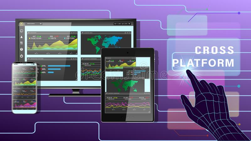 Cross platform development website stock illustration