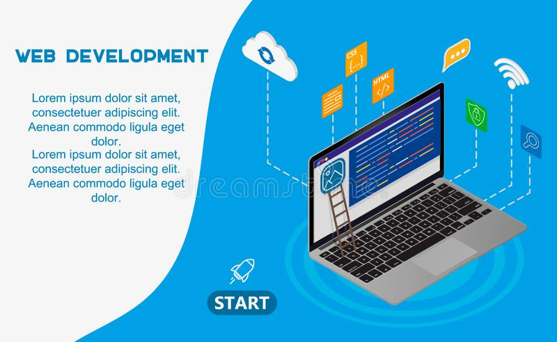 Web development concept banner. Can use for web banner, infographics. Flat isometric vector illustration isolated on background. stock illustration