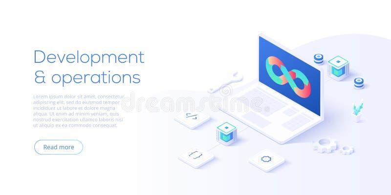 Web development concept in flat design. Developers or designers working at internet app or online service. Creative vector vector illustration