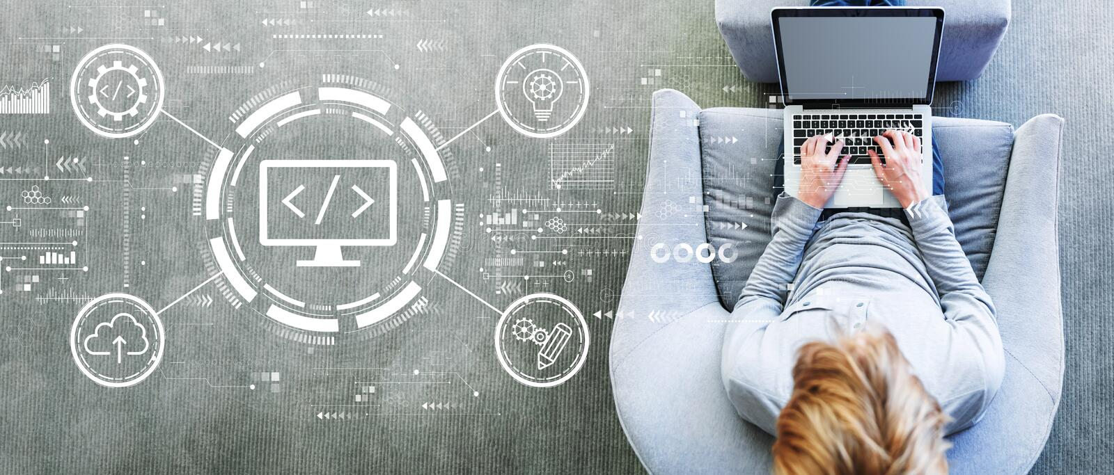 Web development concept with man using a laptop royalty free stock image