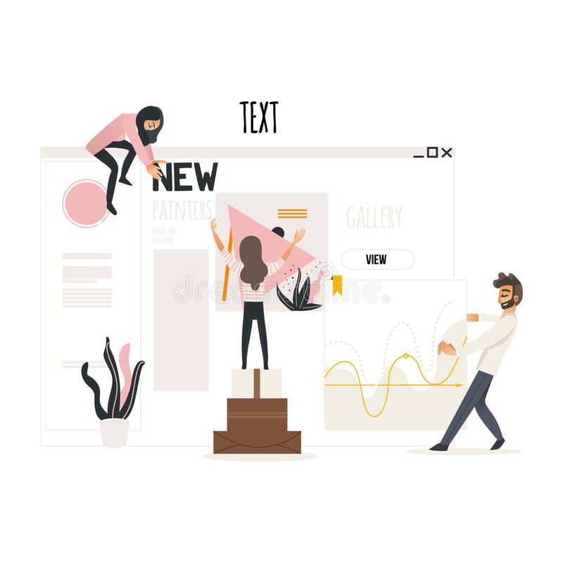 Web development concept with people attaching titles and articles, banners and statistics on web page. Web development concept with people attaching titles and stock illustration