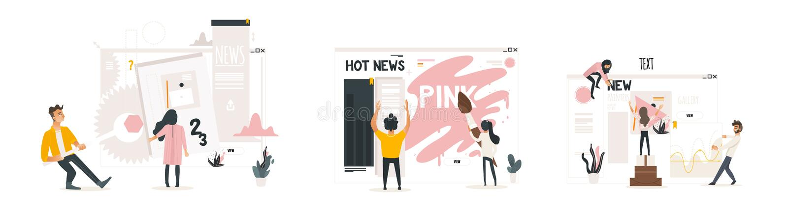 Web development concept set with people building website, painting and filling it with content, making settings. Web development concept set with people stock illustration