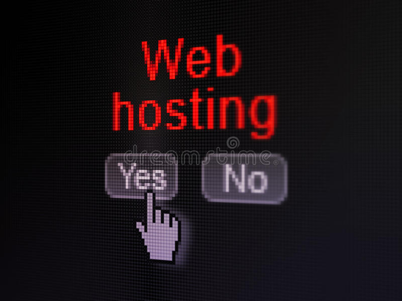 Web development concept: Web Hosting on digital computer screen. Web development concept: buttons yes and no with pixelated word Web Hosting and Hand cursor on royalty free stock photos