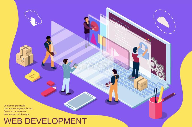 Web development design concept with character and text place. Can use for web banner, infographics, hero images. Flat isometric vector illustration vector illustration