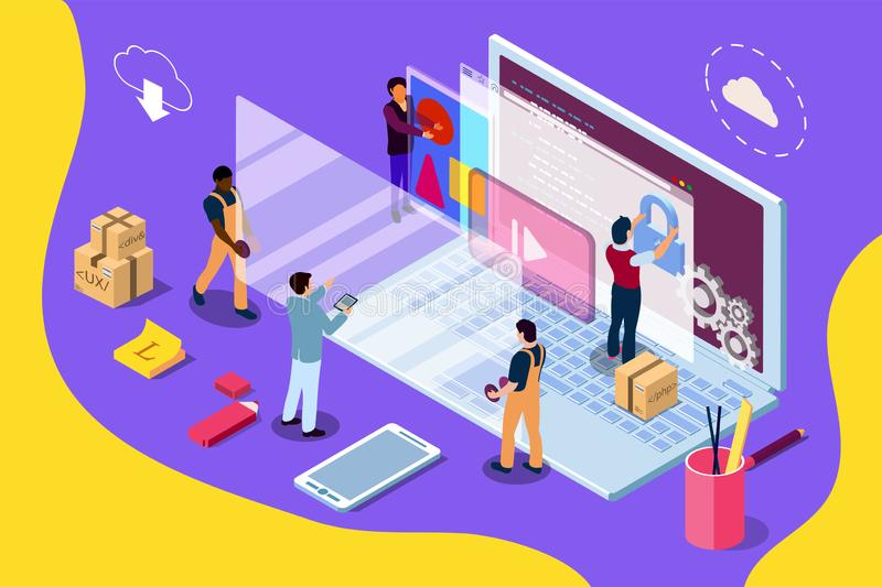 Web development design concept with character and text place. Can use for web banner, infographics, hero images. Flat isometric illustration royalty free illustration