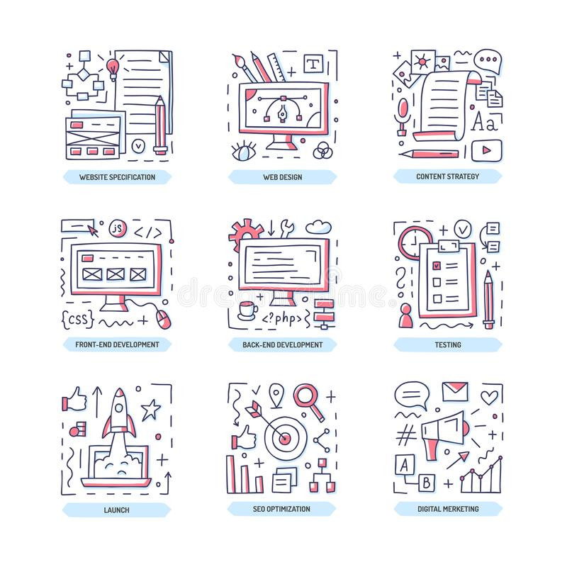 Web development doodle icons. Web development doodle icon set. Website specification, design, frontend and backend, content strategy, digital marketing, launch royalty free illustration