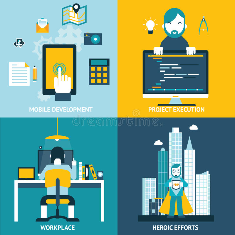 Web development flat icons royalty free illustration