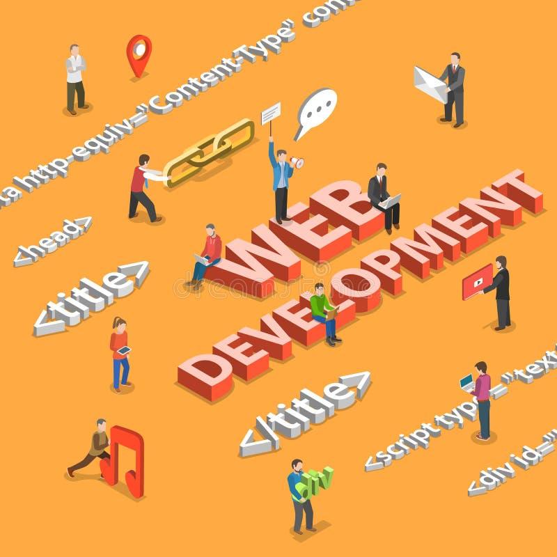Web development flat isometric concept stock illustration