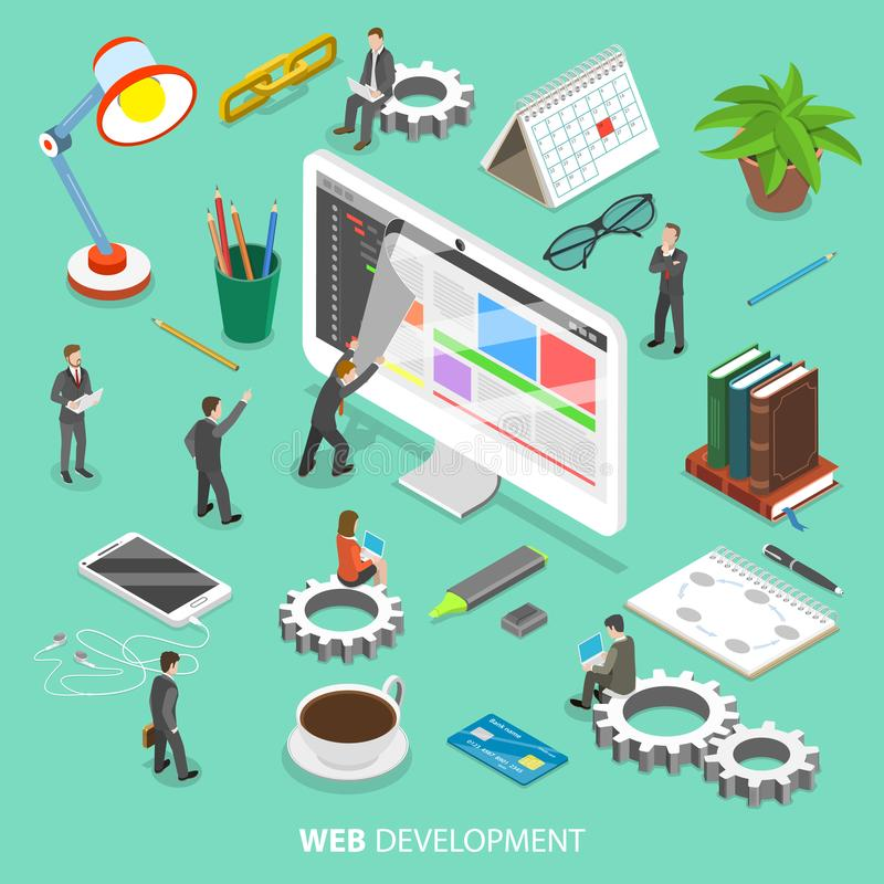Web development flat isometric vector concept. vector illustration