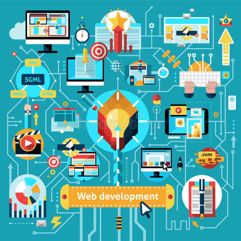 Web Development Flowchart. With website design programming process elements vector illustration stock illustration