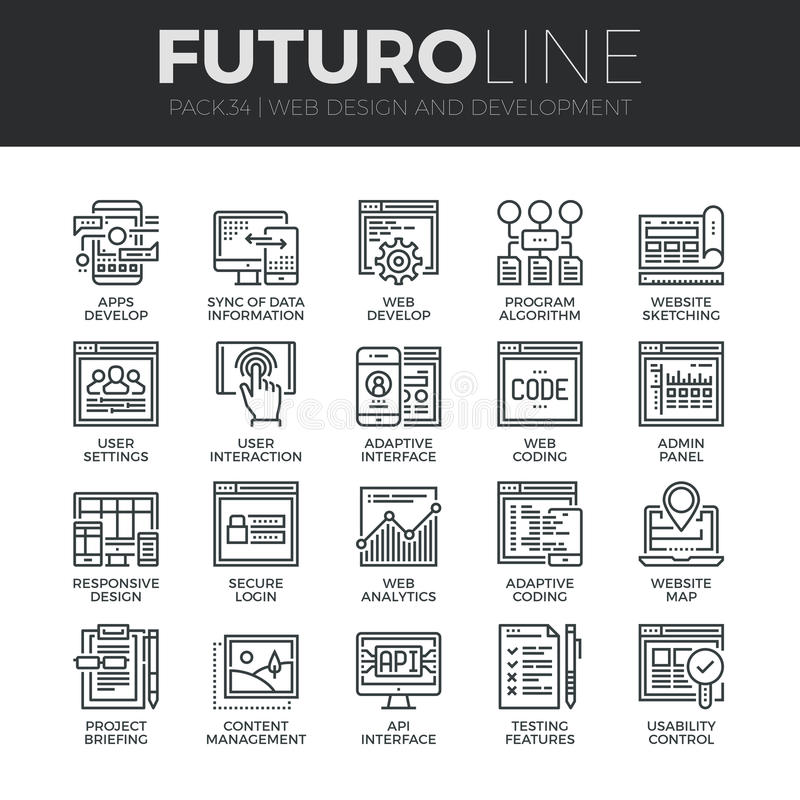 Web Development Futuro Line Icons Set royalty free illustration