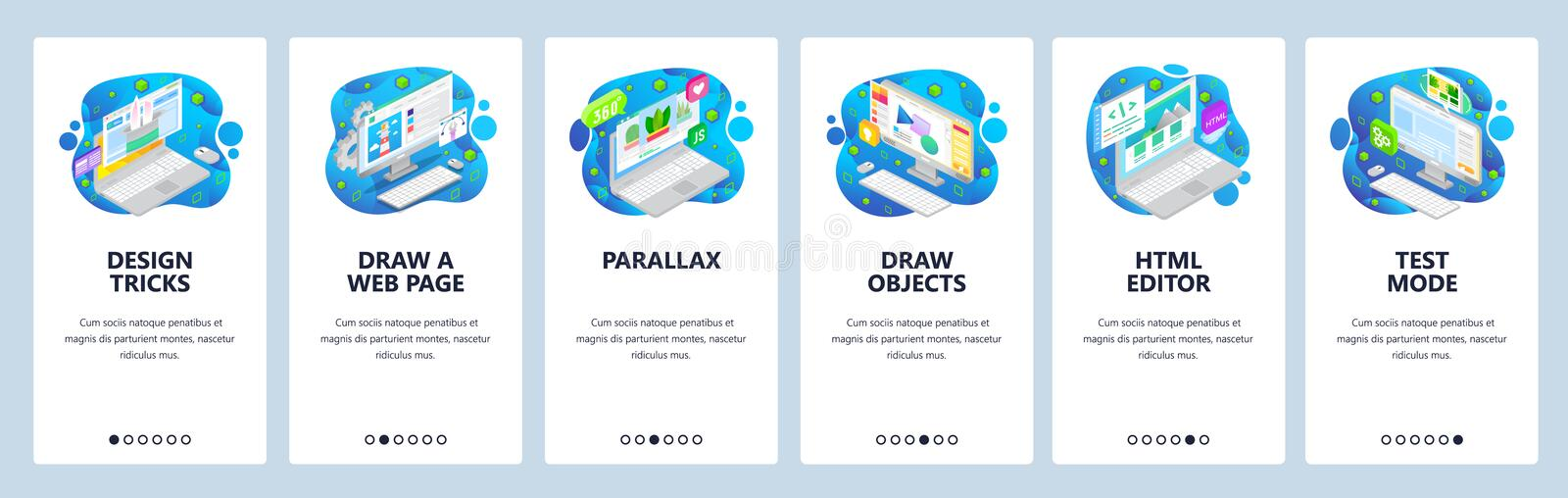 Web development, icometric computer icons, html code. Mobile app onboarding screens. Menu vector banner template for. Website and mobile development. Web site stock illustration