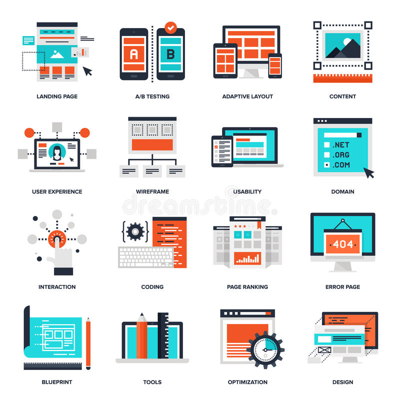 Web Development Icons. Abstract vector collection of flat web development icons. Elements for mobile and web applications royalty free illustration