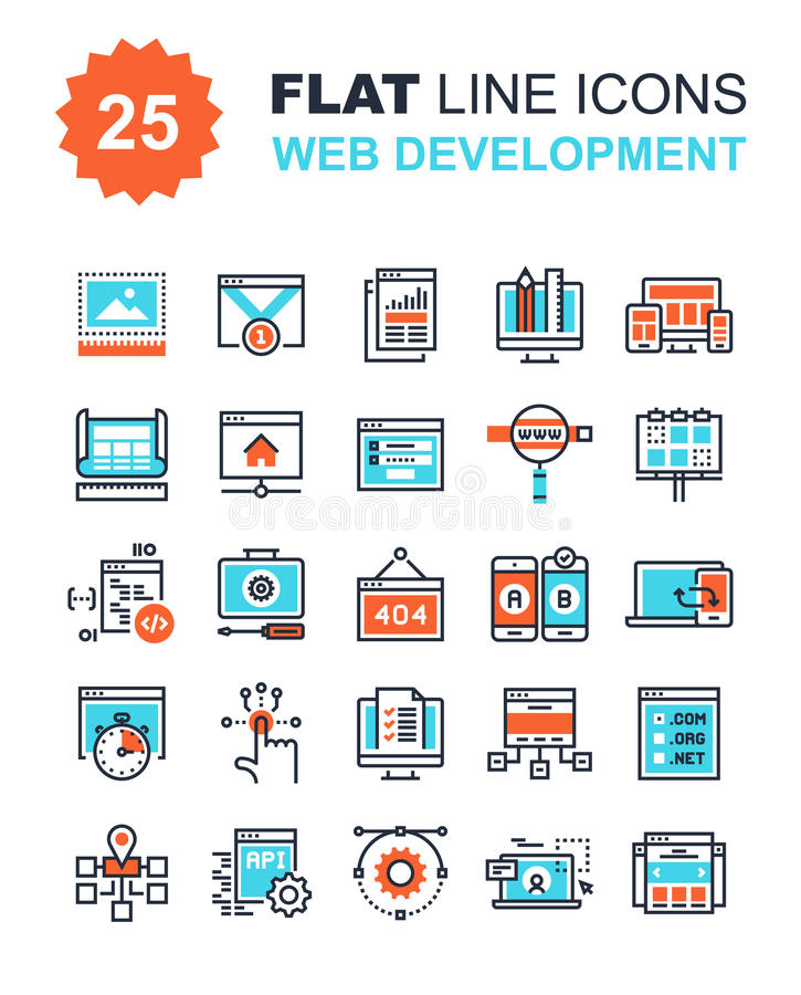 Web Development Icons. Abstract vector collection of flat line web development icons. Elements for mobile and web applications stock illustration