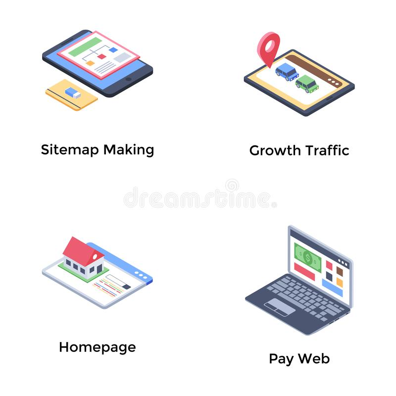 Web Development Isometric Icons Pack. Web development icons pack brimmed with web related visuals for your related projects. Edit, use and market your projects stock illustration