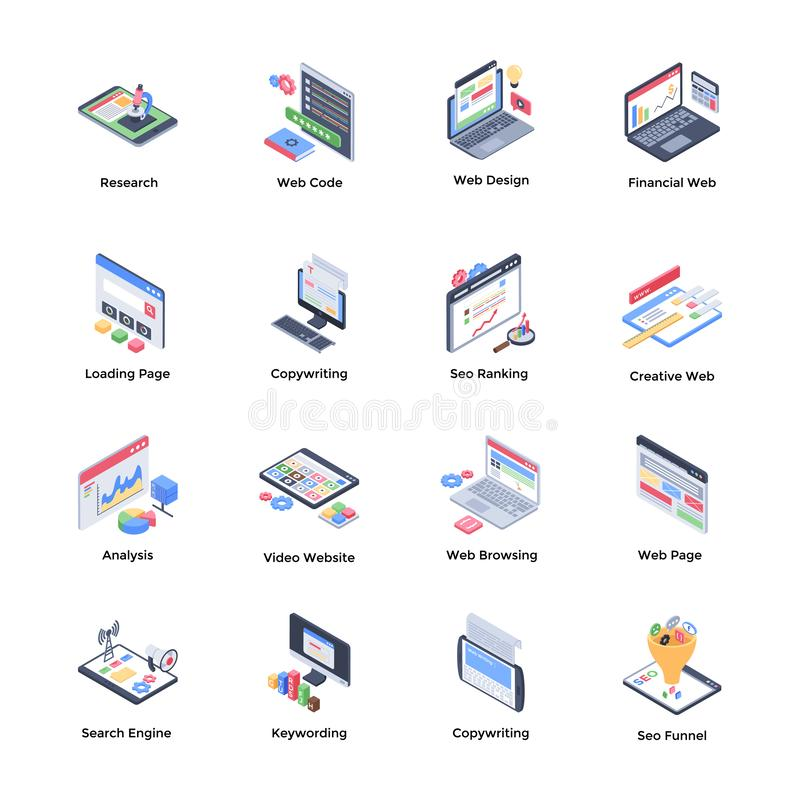 Web Development Isometric Vectors stock illustration